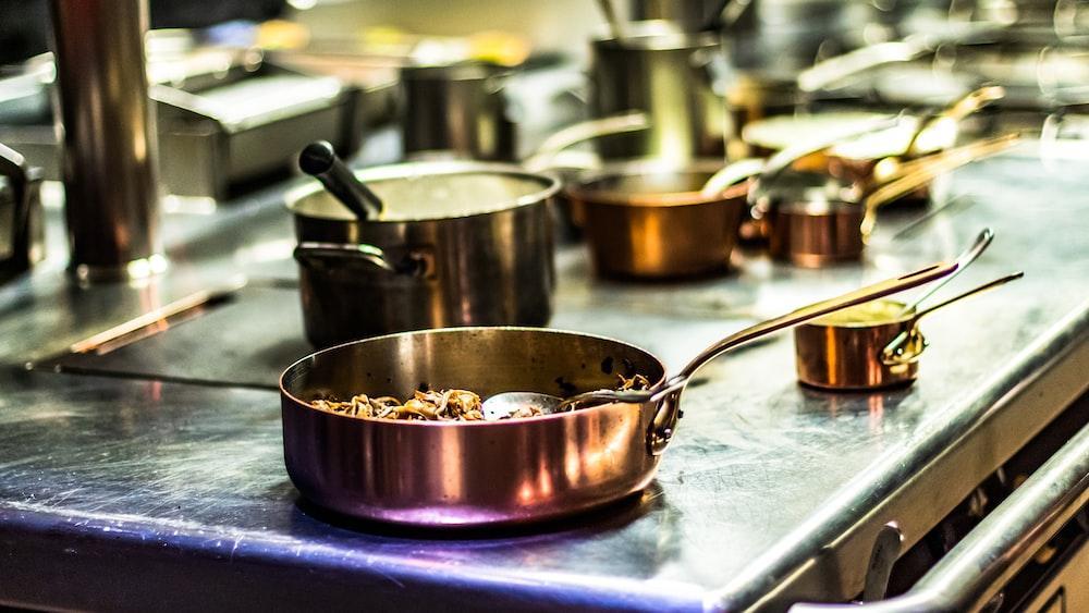 gray steel frying pan