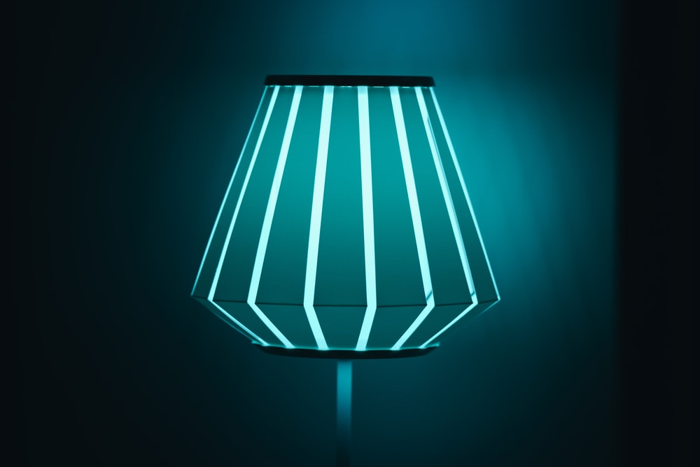 blue-lighted lamp
