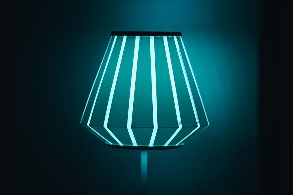 blue-lighted lamp