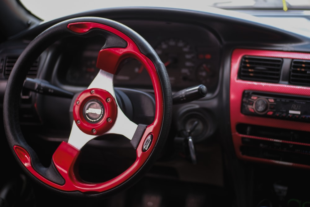 red and black vehicle interior