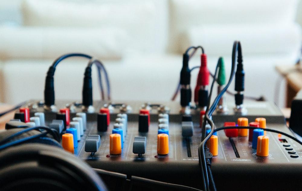 closeup photo of DJ mixer