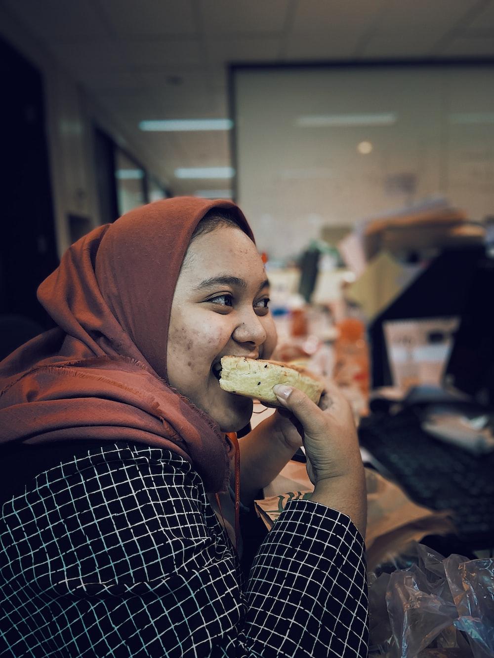 woman earring pastry bread