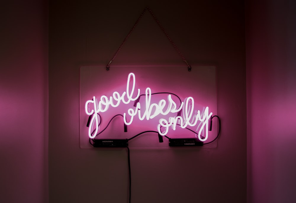 pink Good Vibes neon sign