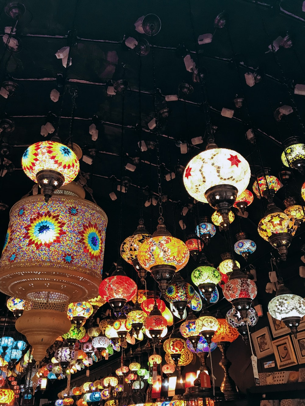 assorted-color lanterns during nighttime