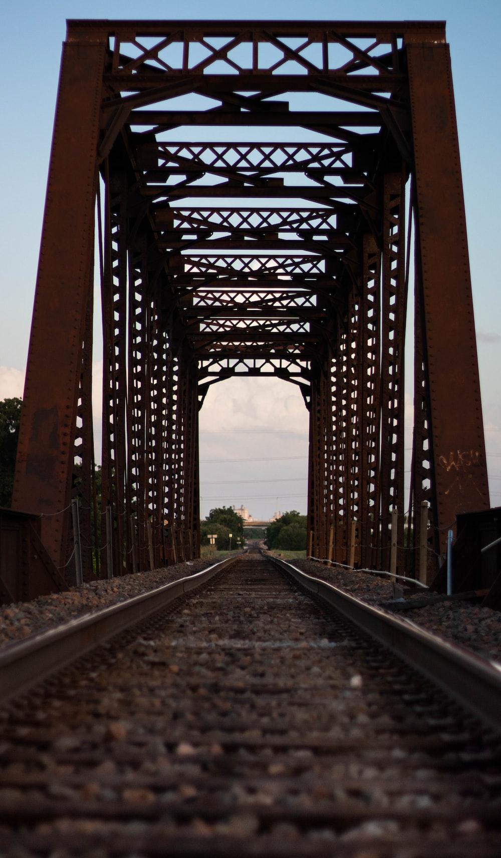 brown steel bridge