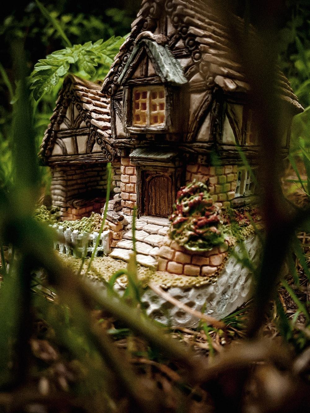 brown ceramic house ornament