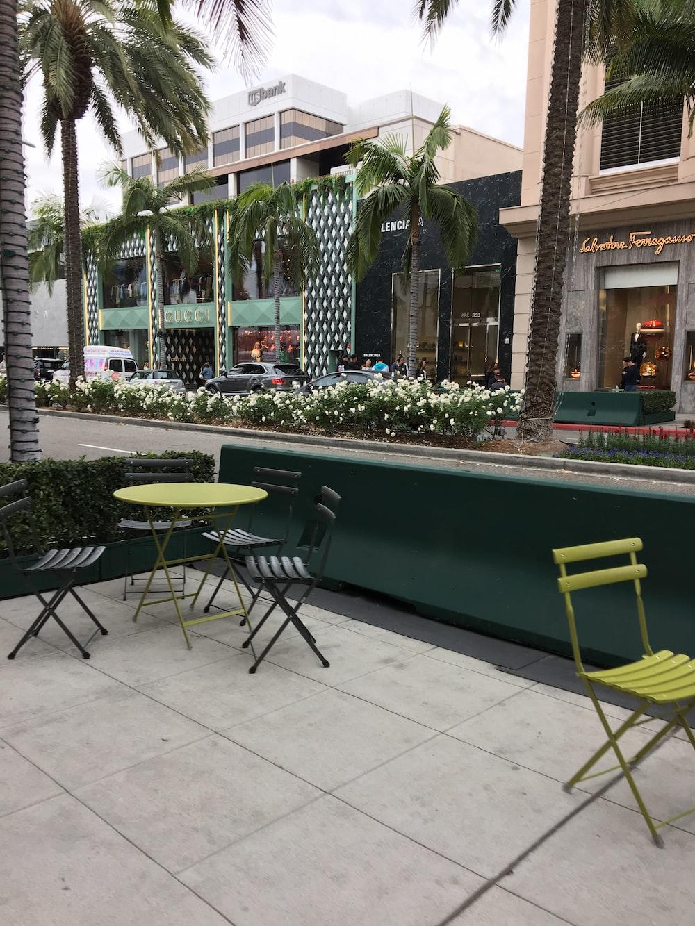 round green metal patio table set