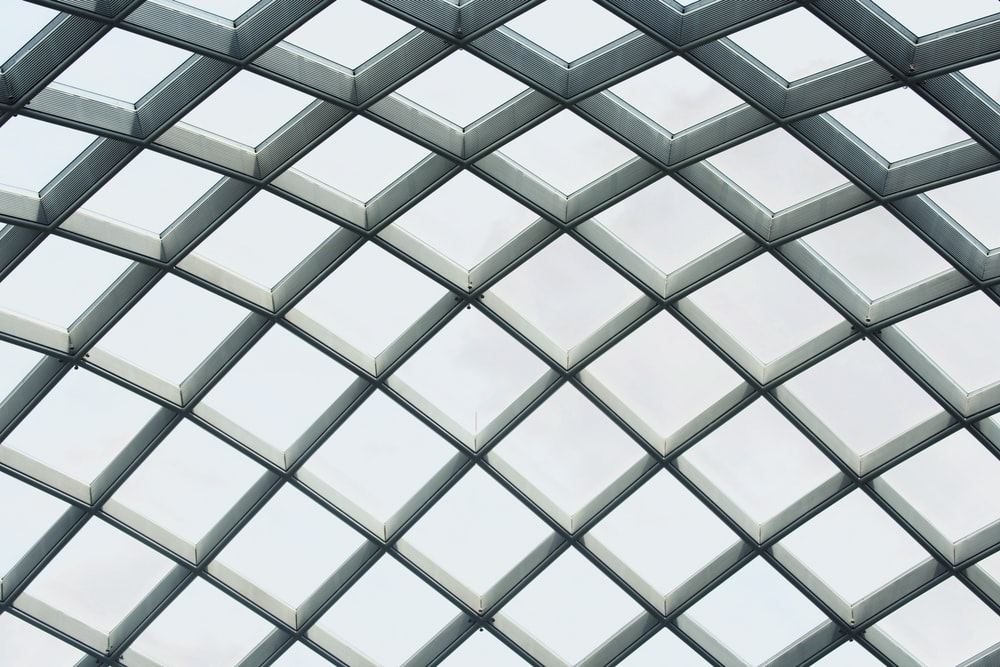 white metal and glass dome ceiling
