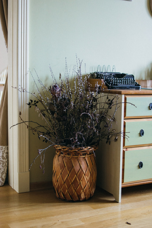 brown planter near dresser