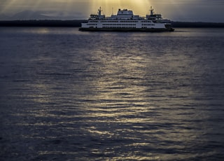 cruise ship during golden hour