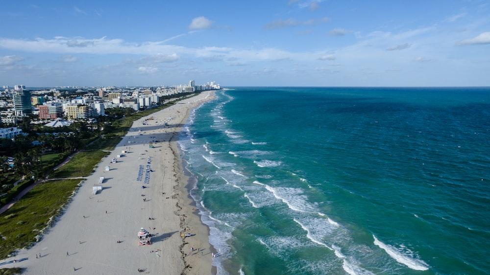 high-angle photography of blue beach