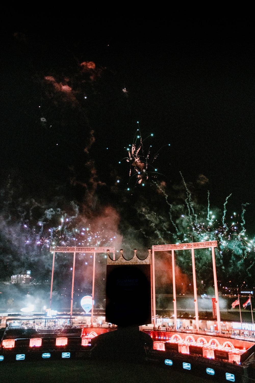 fireworks display near building