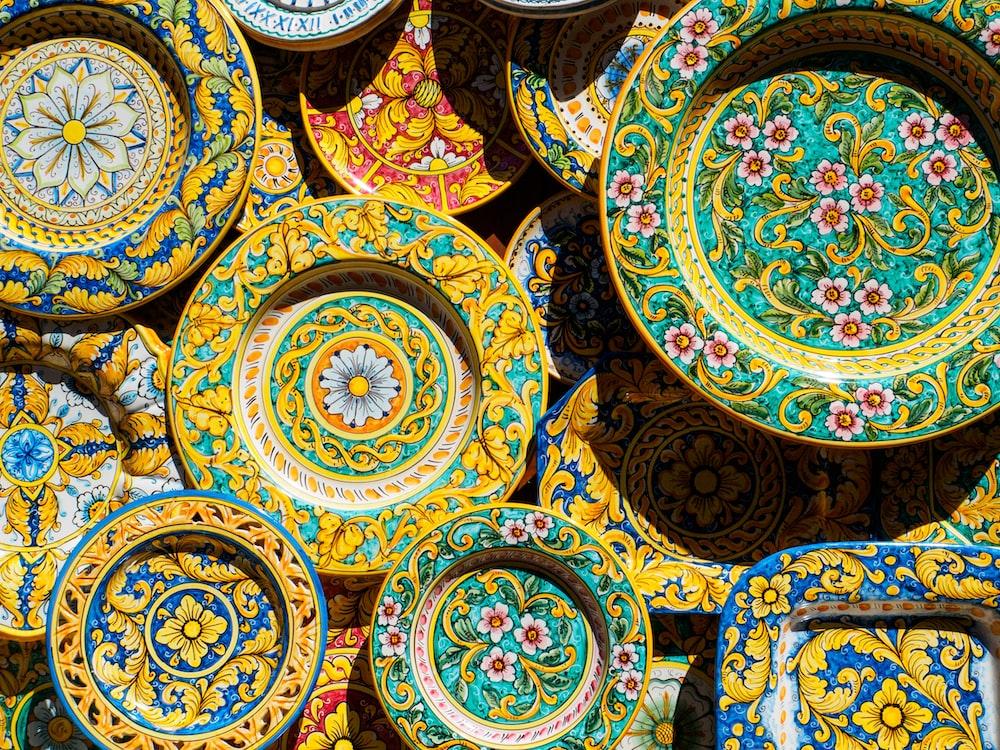 multicolored floral plates