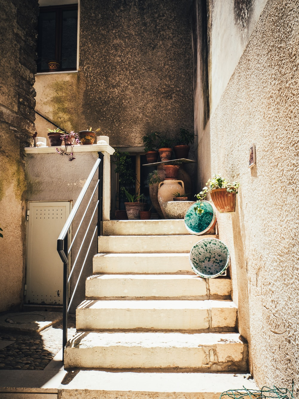 white concrete stairs scenery