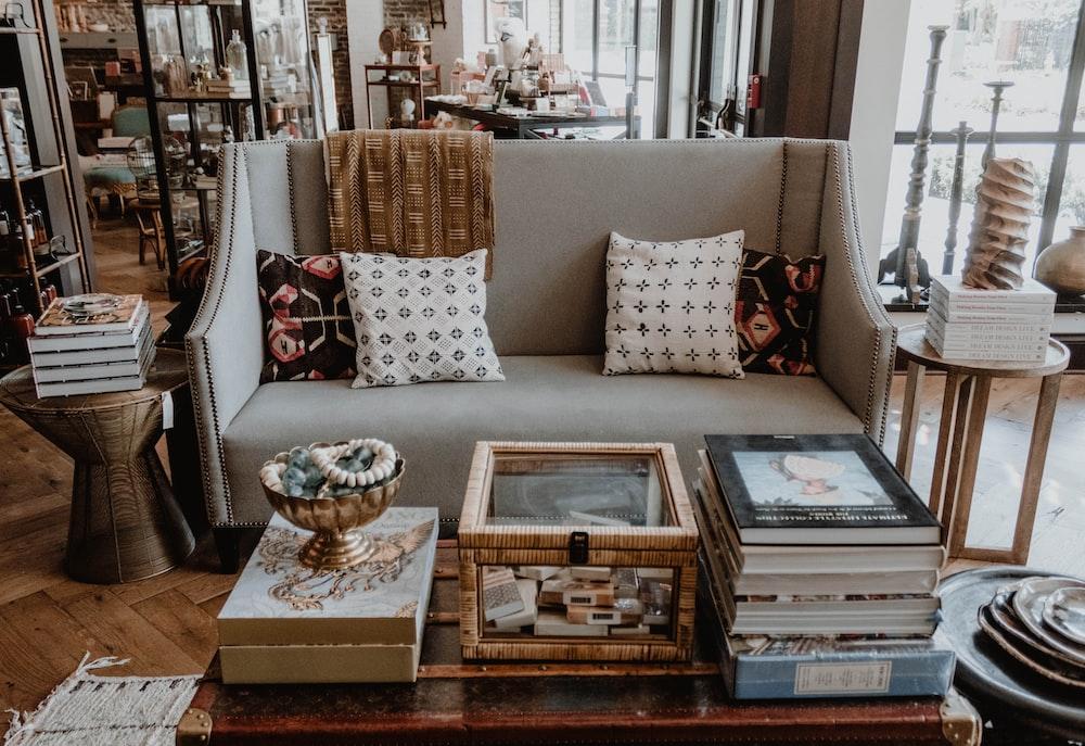 beige fabric sofa set