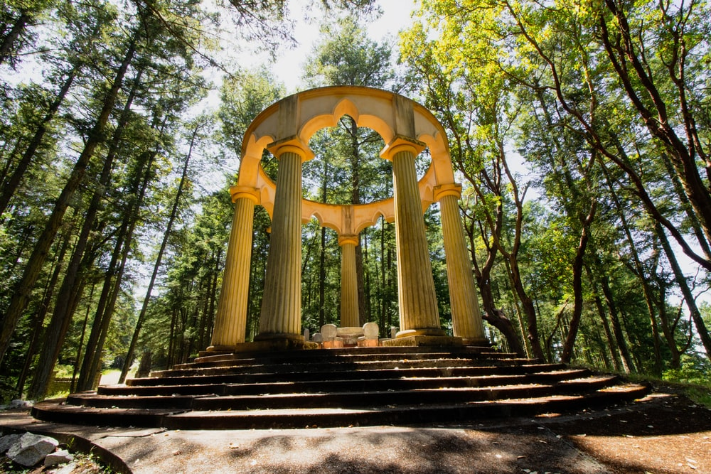 concrete gazebo in forest during daytime