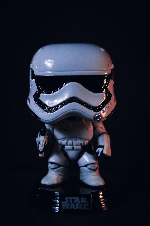 white and black Stars Wars Storm Trooper figure