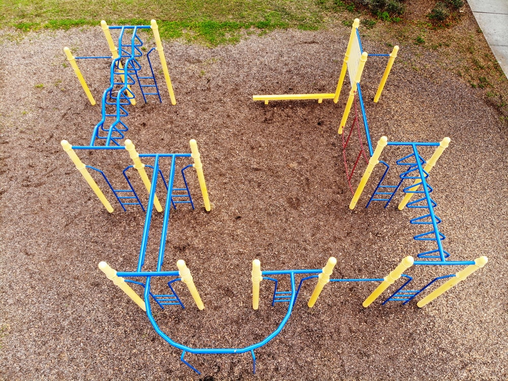 blue and yellow playground with no people