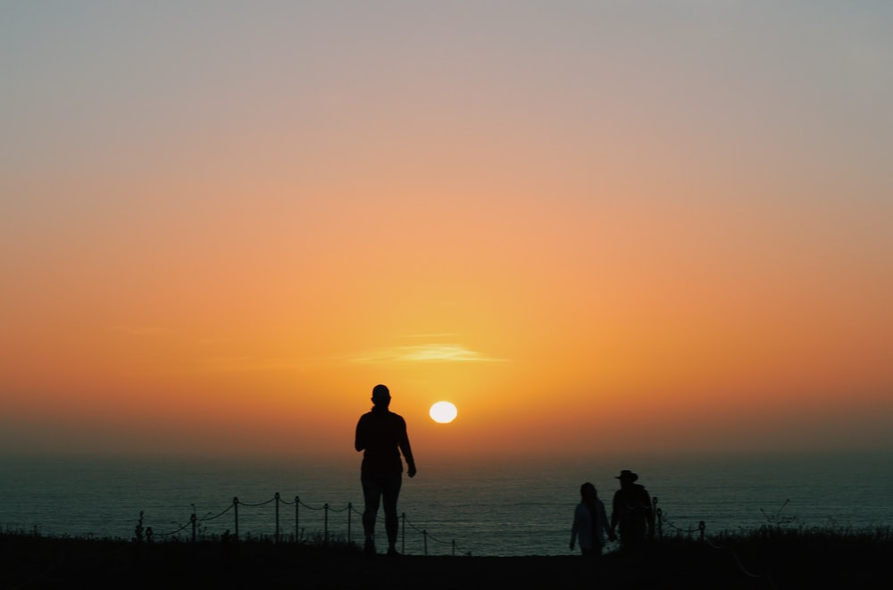 silhouette of person standing on field