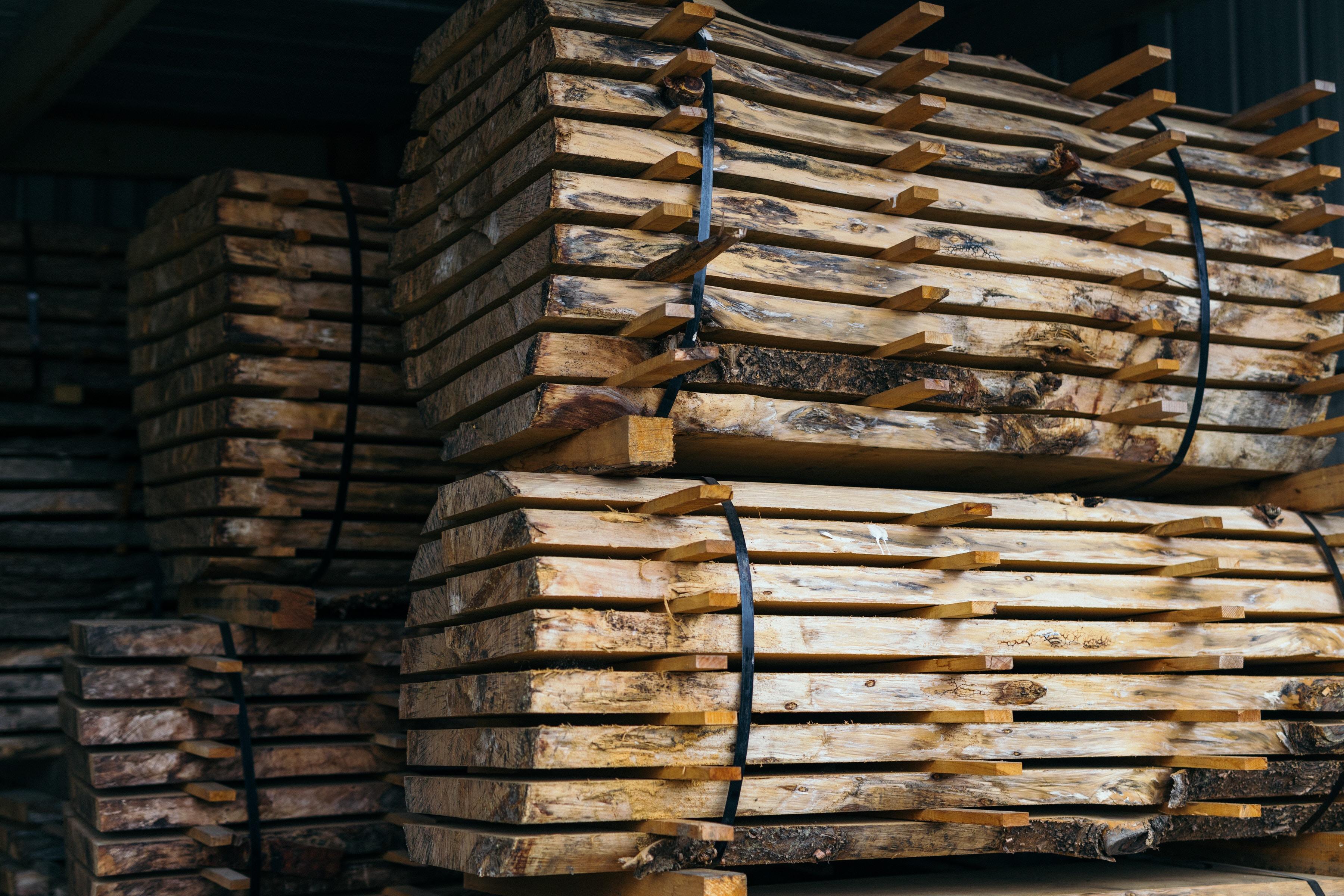 closeup photo of beige wooden stands