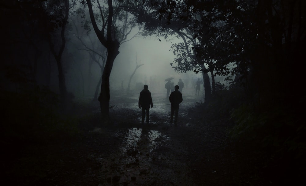 two person in a road during nighttime