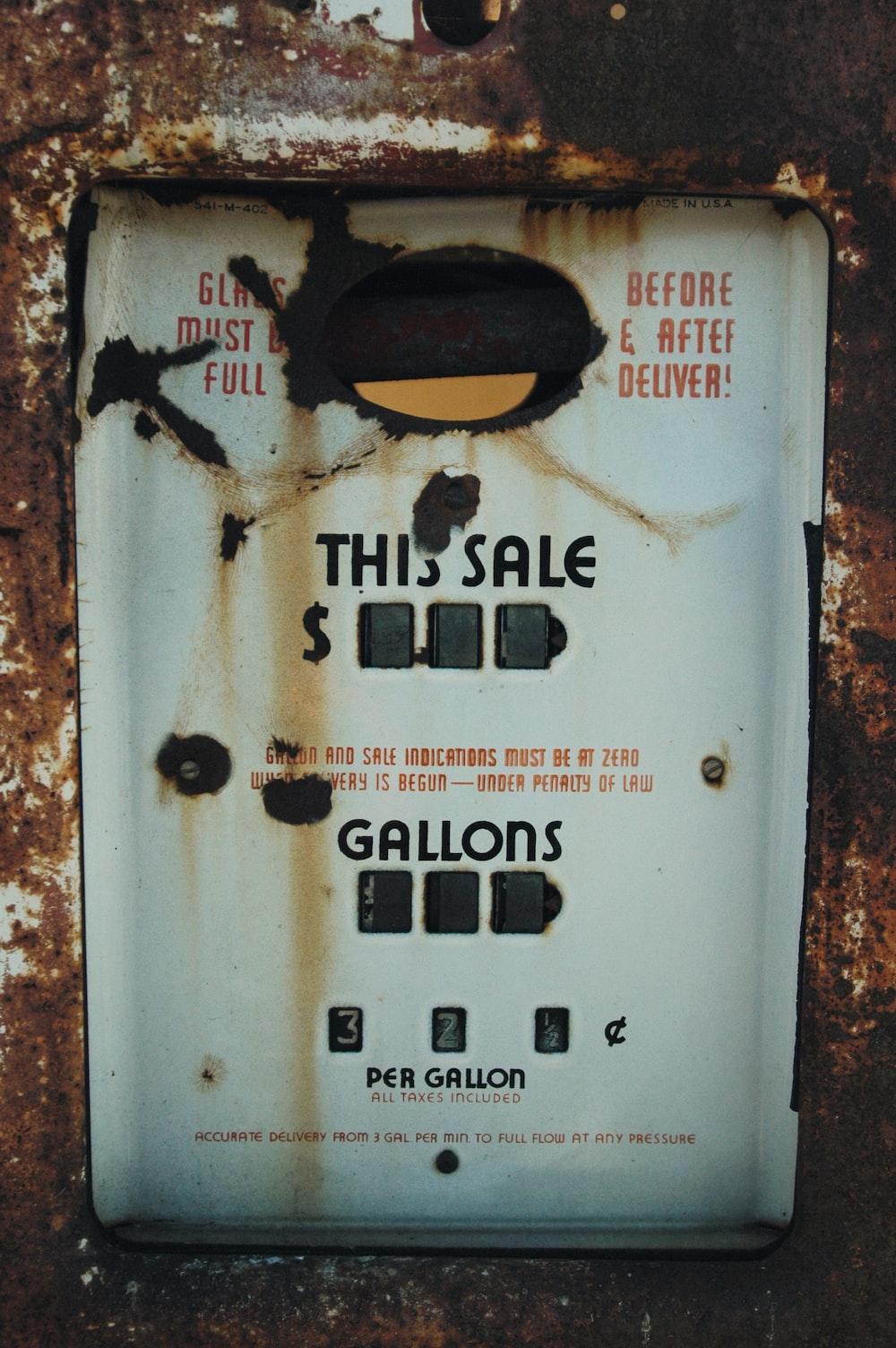 rectangular black and white gas pump