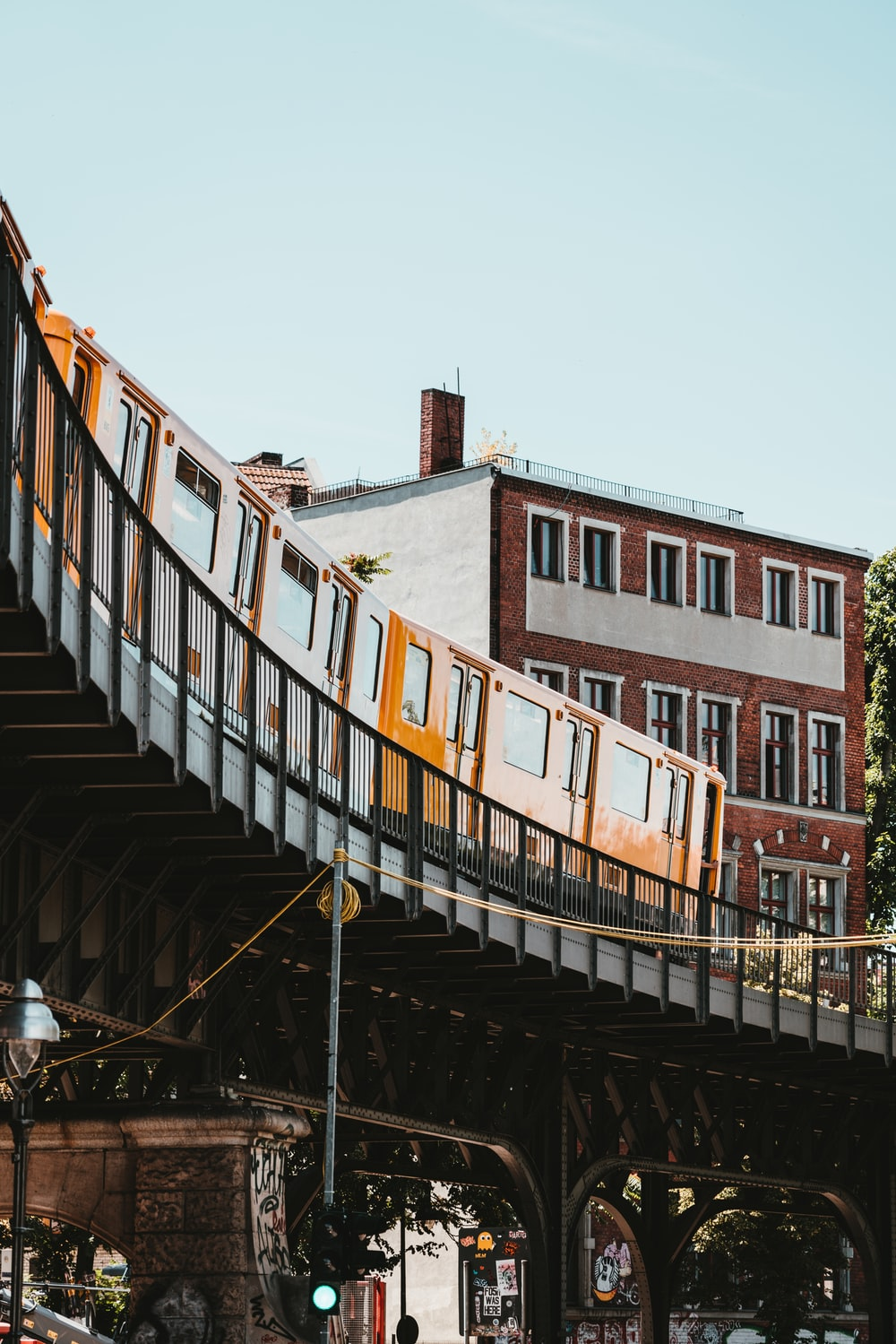 train travelling on bridge