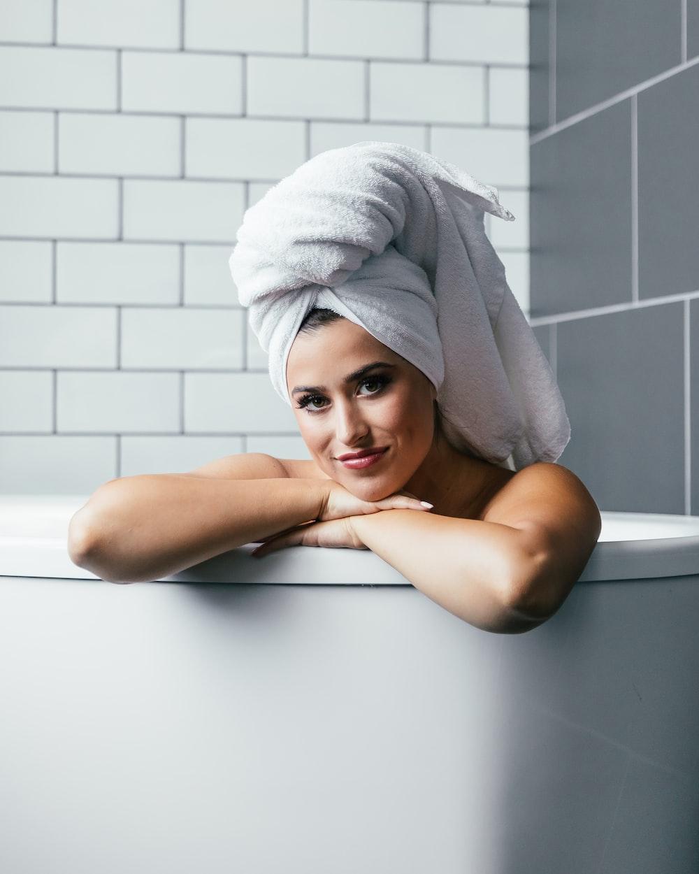 woman inside bathtub