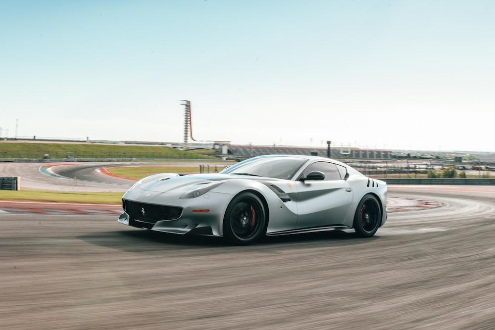 silver Maserati Granturismo on car