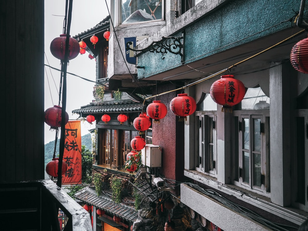 red-and-black chinese lanterns