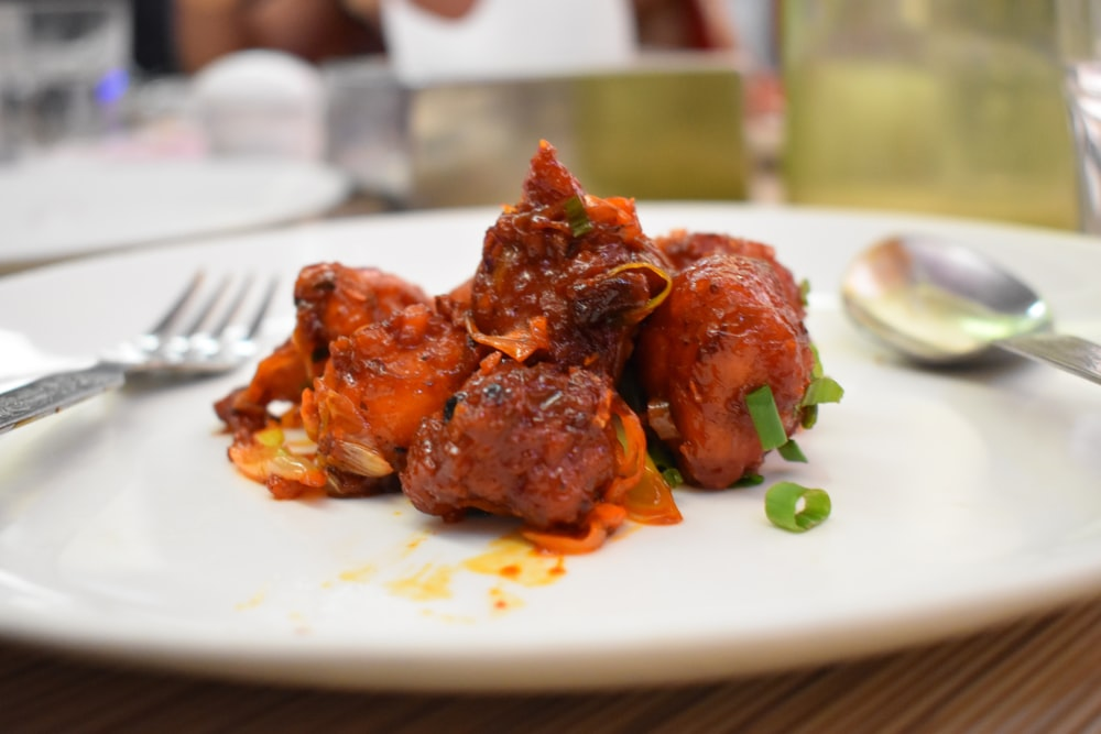 selective focus photography of cooked meat