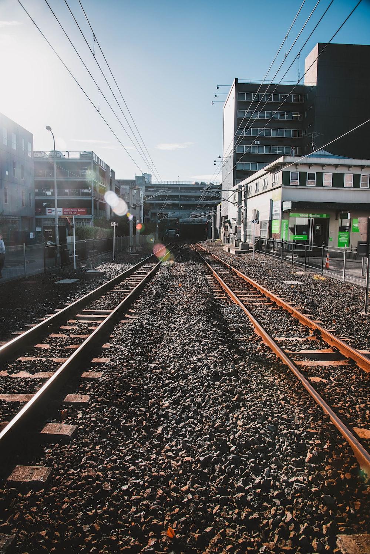 railroads under blue sky