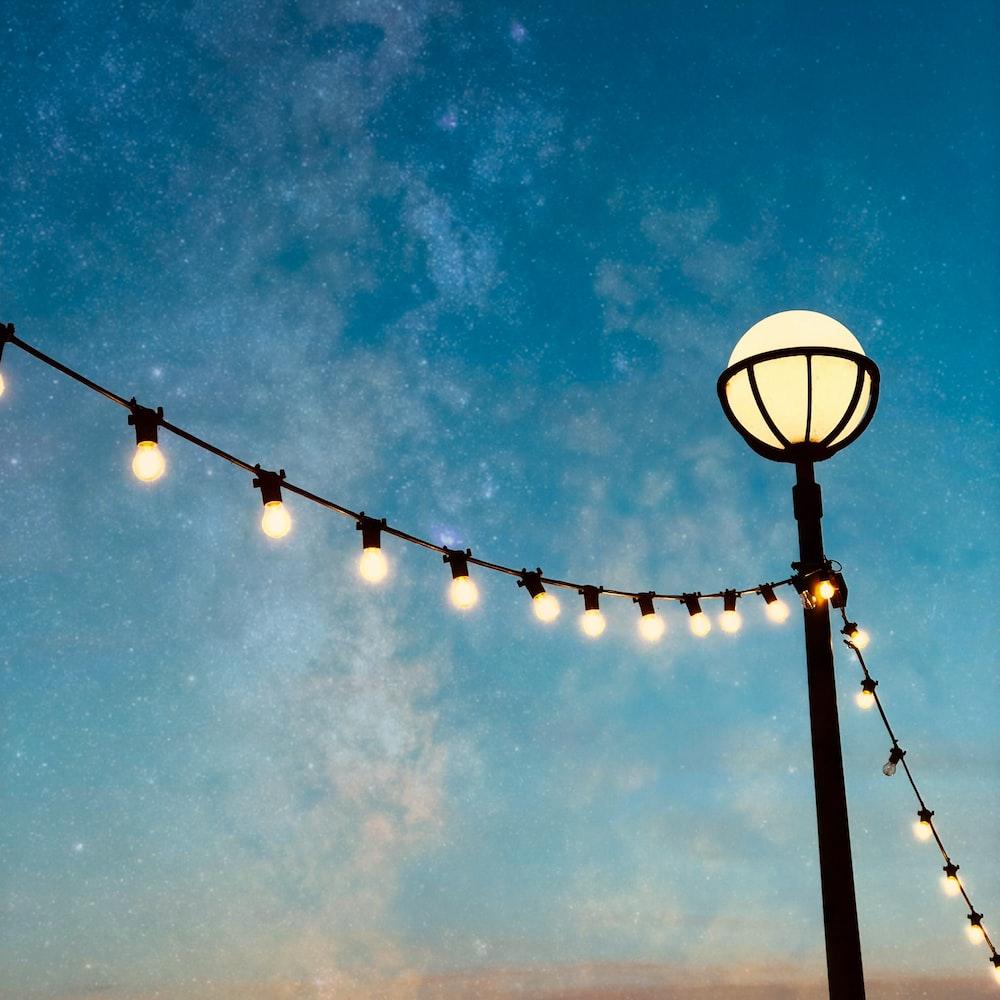 light-on bulb string light during nighttime