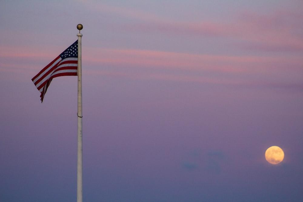 flag of USA with pole