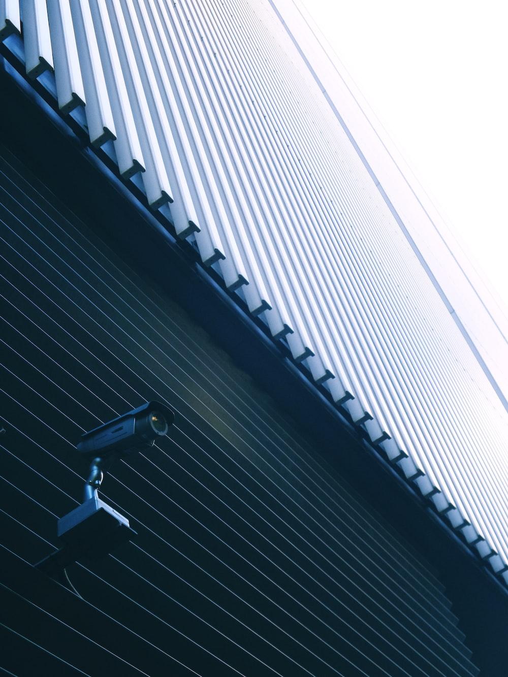 grey CCTV on wall