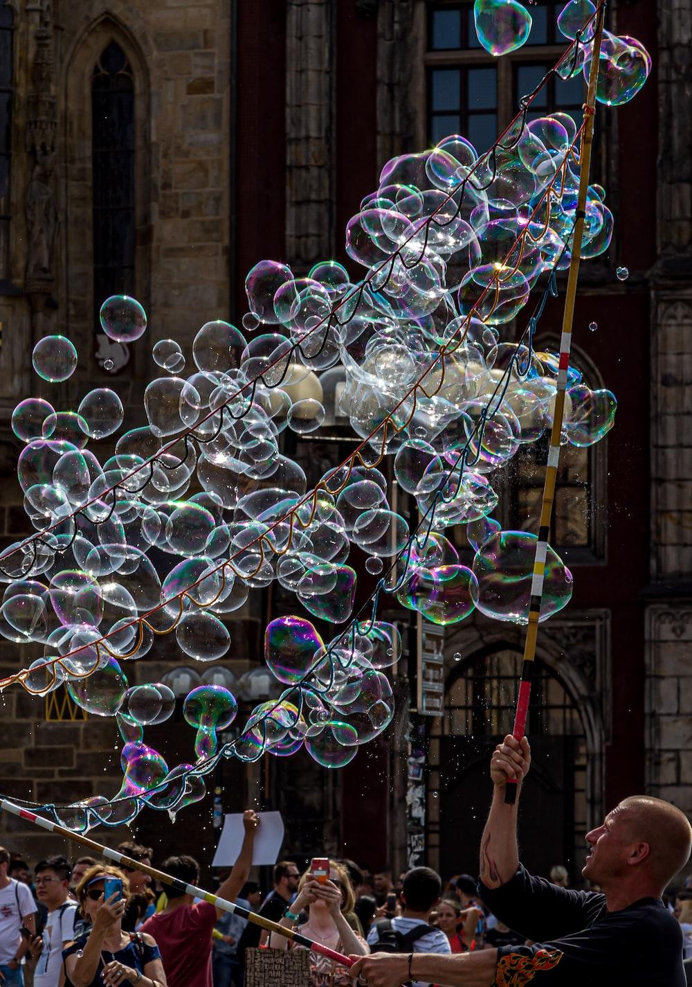 man showing bubble performance