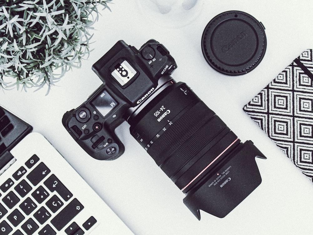 Canon DSLR camera on desk