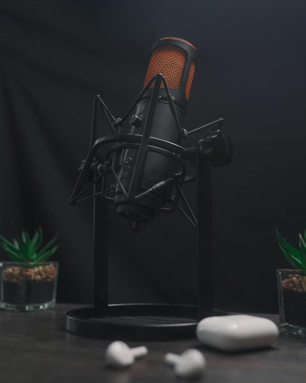 black and brown crooner microphone