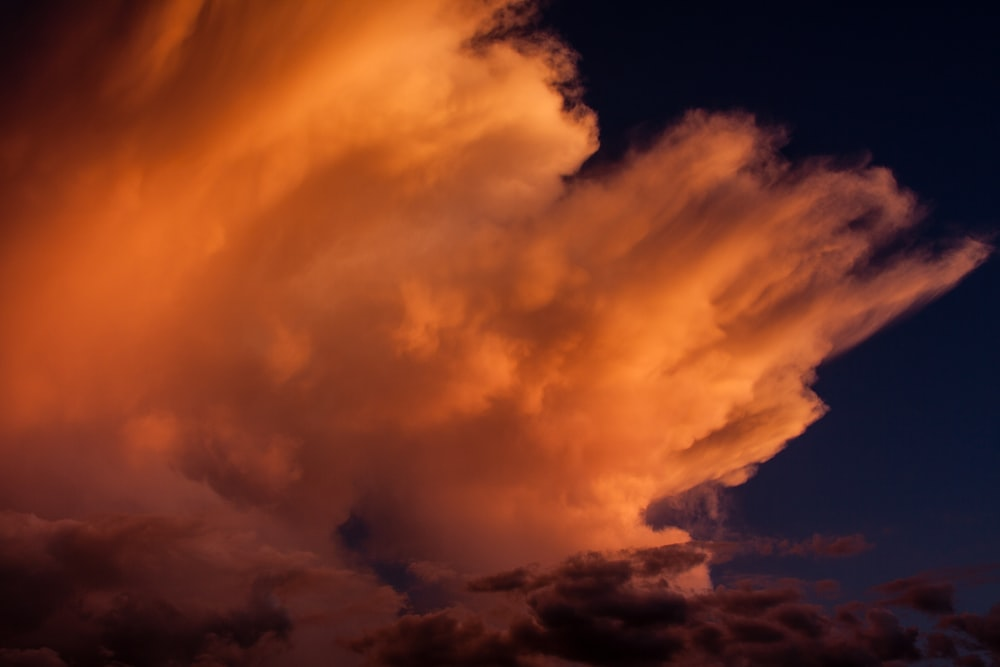Wind blown cloud tops in the setting sun.