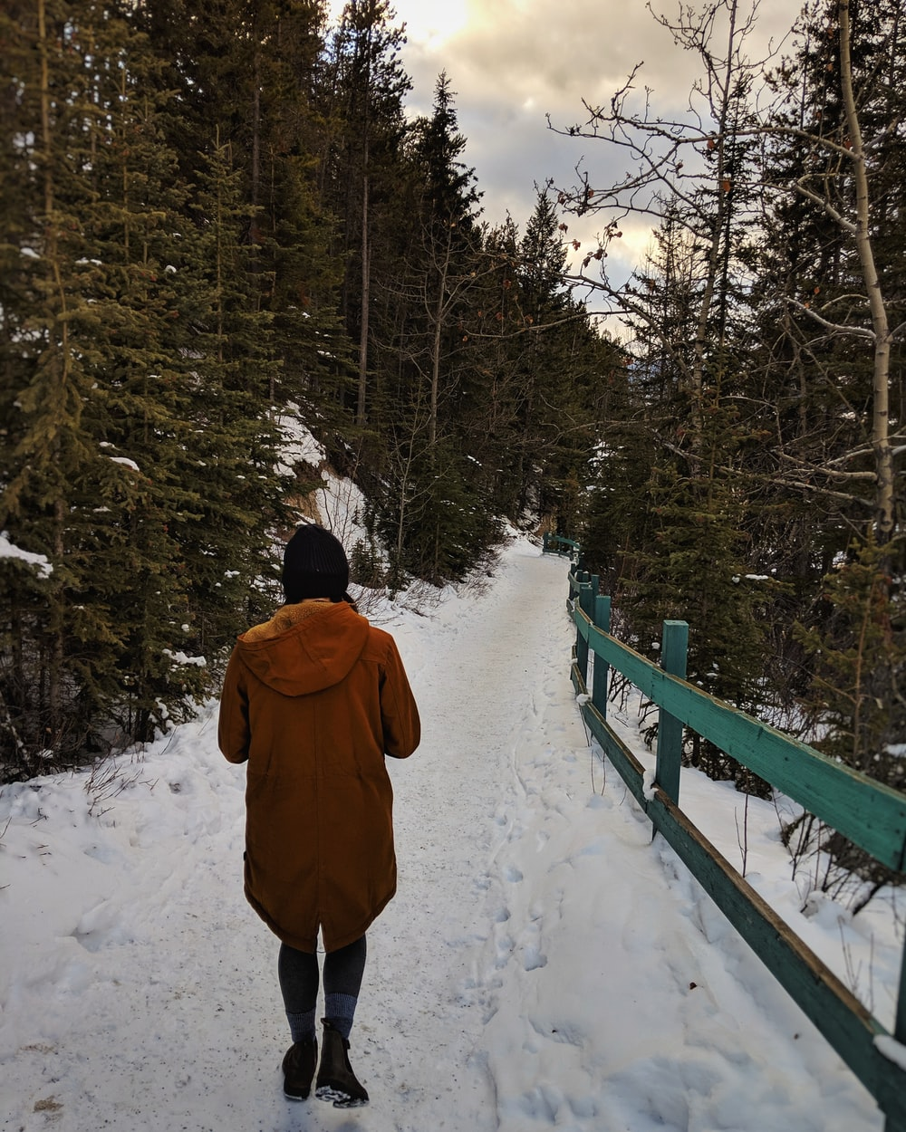 person in a brown coat at a snowy walkway