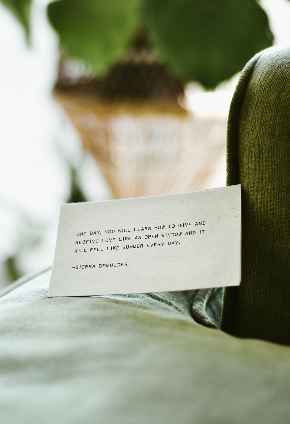 white card with note