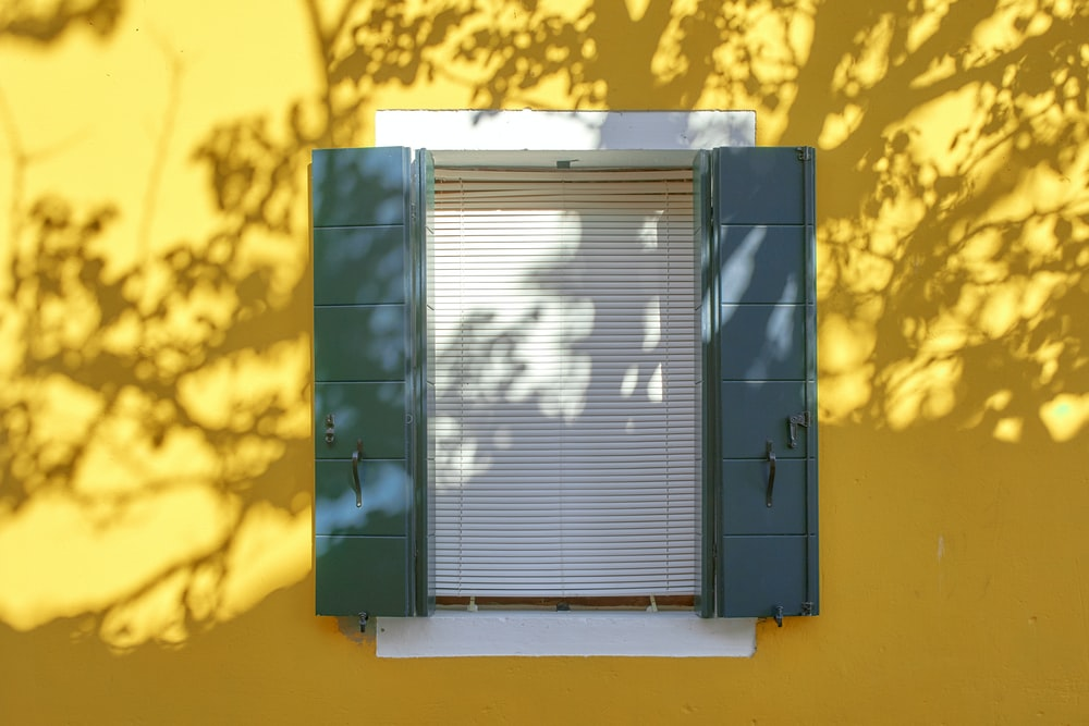 closed blue window blinds