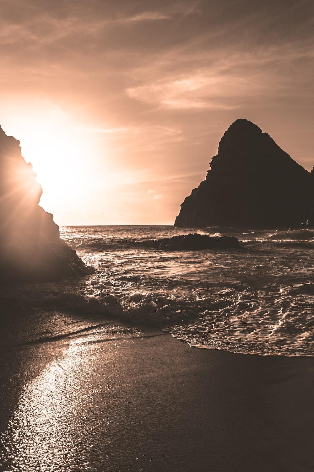 rock in ocean