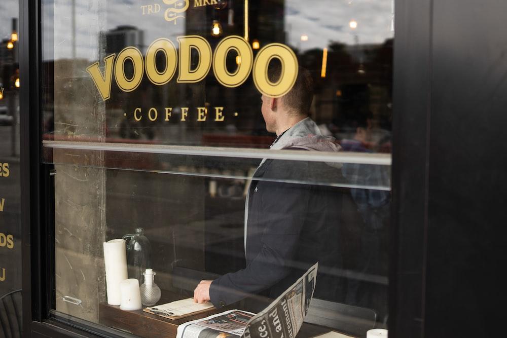 Voodoo coffee sticker in glass