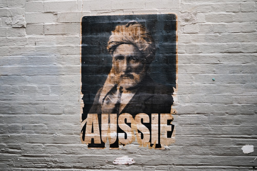 Aussie painting on brick wall