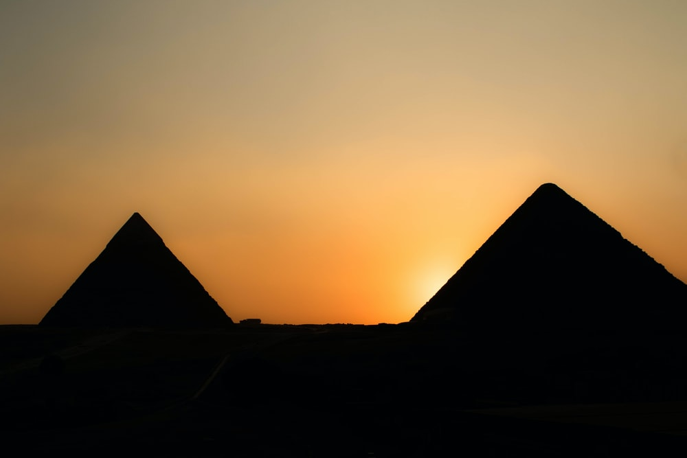 two pyramid during golden hour