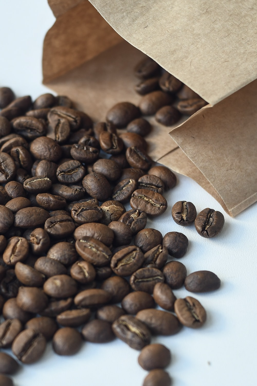 coffee beans on white surface and in paper bag on it's side