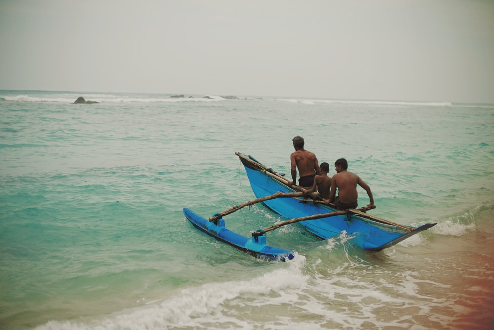 people riding boat