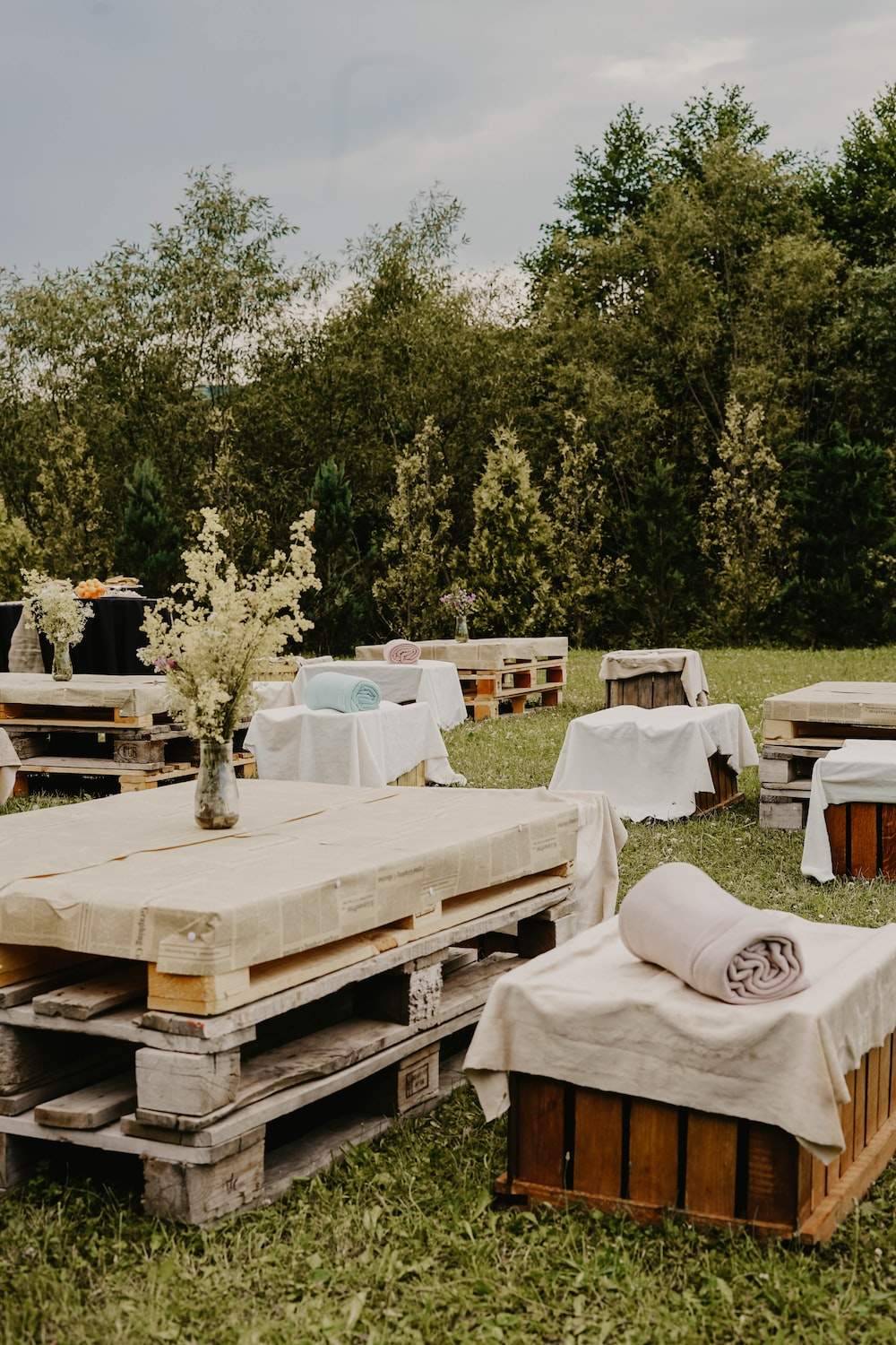 tables and chairs on grass