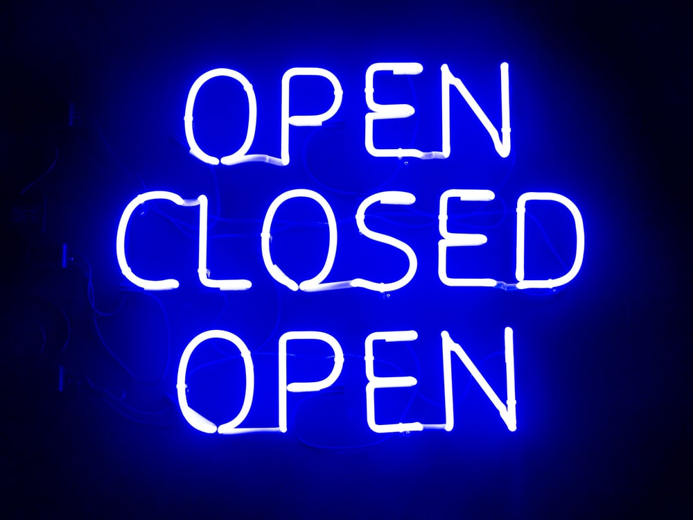 open closed open neon sigange